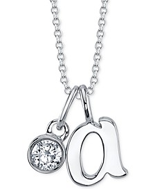 "Initial & Cubic Zirconia Charm Pendant Necklace in Fine Silver-Plate, 16"" + 2"" extender"