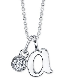 """Unwritten Initial & Cubic Zirconia Pendant Necklace in Fine Silver-Plate, 16"""" + 2"""" extender"""