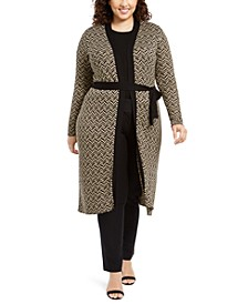 Plus Size Metallic-Knit Duster Cardigan
