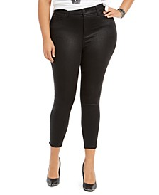 Plus Size High-Rise Coated Skinny Jeans