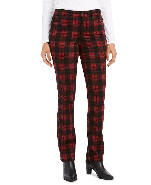 Charter Club Plaid Tummy Control Jeans, Created For Macy's