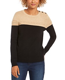 Petite Lurex Knit Sweater, Created For Macy's