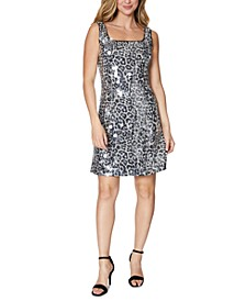 Animal-Print Sequined Dress