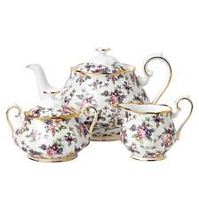 Royal Albert 100 Years 1940 3-Piece Set, Teapot Sugar & Creamer-English Chintz