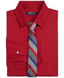 Tommy Hilfiger Big Boys 2-Pc. Classic/Regular-Fit THFlex Stretch Poplin Shirt & Stripe Tie Set