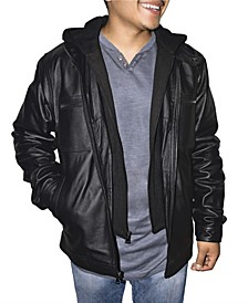 Retro Leather Men's Hooded Jacket