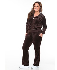 White Mark Plus Size Velour 2 Piece Set