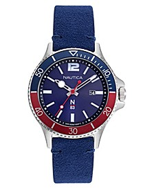 N83 Men's Accra Beach Blue, Red Nubuk Leather Strap Watch 43mm