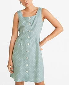 Polka Dot Linen-Blend Dress