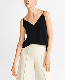 Mango Embroidered Strap Top