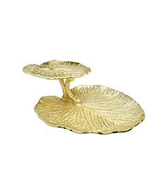 Two-Tiered Gold Lotus Flower Tray