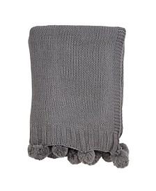 Pom Pom Knit Throw