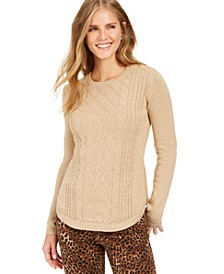 Metallic Crewneck Cable-Knit Sweater, Created For Macy's