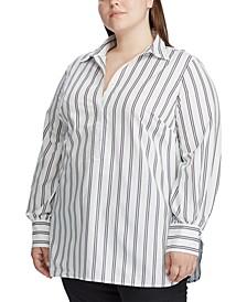 Plus Size Cotton Long-Sleeve Blouse