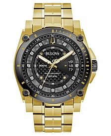 Men's Precisionist Diamond-Accent Gold-Tone Stainless Steel Bracelet Watch 46.5mm