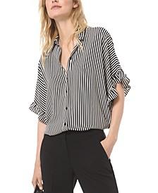 Striped Ruffled-Sleeve Blouse