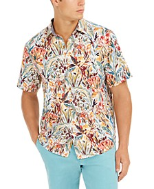 Men's Bongo Palms IslandZone Moisture-Wicking Tropical-Print Camp Shirt
