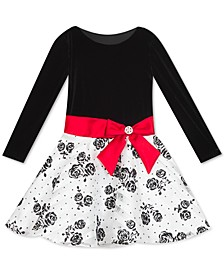 Little Girls Flocked Velvet Bow Dress