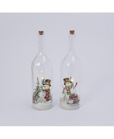 Gerson & Gerson Assorted Battery-Operated Snowman Glass Bottle with Snow Blowing Feature - Set of 2