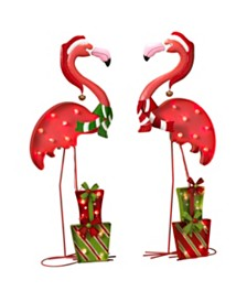 Gerson & Gerson Lighted Holiday Flamingos - Set of 2