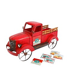 42-Inch-Long Solar Lighted, Metal and Wood Antique Red Truck with 3 Season Magnets