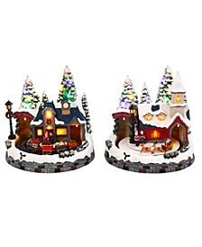 Lighted, Musical Holiday Scenes with Train, Church and Santa - Set of 2