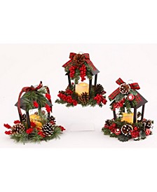 Assorted Battery-Operated Plastic and Metal Holiday Lanterns - Set of 3