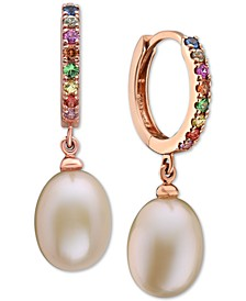 EFFY® Peach Cultured Freshwater Pearl (12 x 9-1/2mm) & Multi-Gemstone (1/2 ct. t.w.) Drop Earrings in 14k Rose Gold