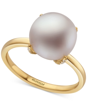 Effy Cultured Freshwater Pearl (9-1/2mm) & Diamond (1/20 ct. t.w.) Ring in 14k Gold