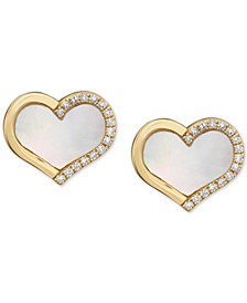 EFFY® Mother-of-Pearl & Diamond (1/10 ct. t.w.) Heart Stud Earrings in 14k Gold