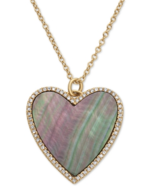Effy Mother-of-Pearl & Diamond (1/8 ct. t.w.) Heart Pendant Necklace in 14k Gold