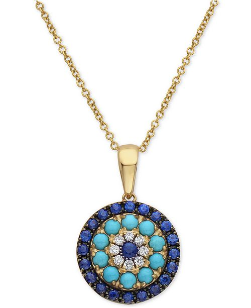 """EFFY Collection EFFY® Sapphire (1/2 ct. t.w.), Turquoise & Diamond (1/20 ct. t.w.) 16"""" Pendant Necklace in 14k Gold"""
