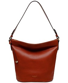 Zip Top Leather Bucket Bag