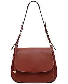 Flapover Leather Shoulder Bag