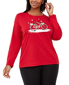 Plus Size Cotton Winter Graphic Top, Created For Macy's
