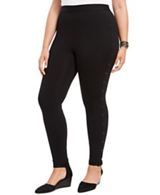 Style & Co Plus Size Studded-Side Leggings, Created For Macy's