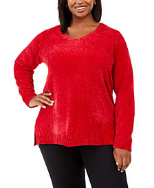 Karen Scott Plus Size V-Neck Chenille Sweater, Created For Macy's
