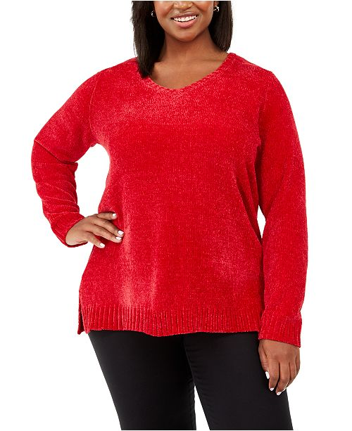 Karen Scott Plus Size V-Neck Chenille Sweater, Created For Macy's