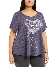 Plus Size Snowflake-Print T-Shirt, Created For Macy's