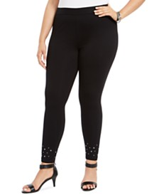 Style & Co Plus Size Studded-Cuff Leggings, Created For Macy's