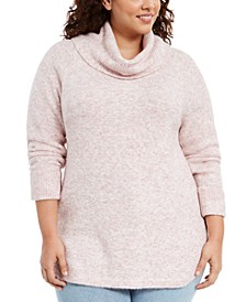 Plus Size Waffle-Knit-Trim Cowlneck Sweater, Created For Macy's