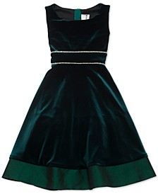Big Girls Plus Size Embellished Velvet Dress