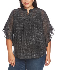 Vince Camuto Plus Size Sweet Calico Flutter-Sleeve Blouse