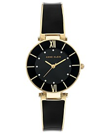 Women's Black & Gold-Tone Bangle Bracelet Watch 30mm