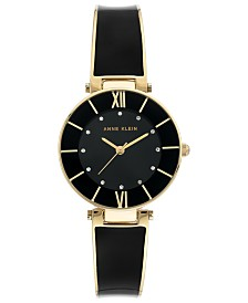 Anne Klein Women's Black & Gold-Tone Bangle Bracelet Watch 30mm