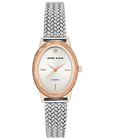 Women's Diamond-Accent Stainless Steel Mesh Bracelet Watch 24x30mm