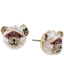 Gold-Tone Glitter Rhinestone Mummy Bear Stud Earrings