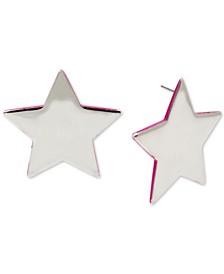 Silver-Tone Neon-Edge Star Stud Earrings