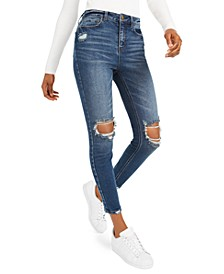 Juniors' High-Rise Distressed Skinny Jeans
