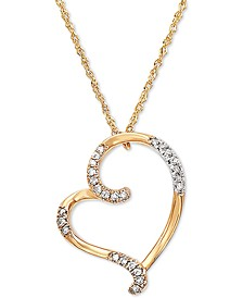 "Diamond Heart 18"" Pendant Necklace (1/10 ct. t.w.) in 10k Gold"